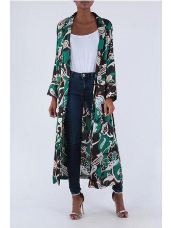 Kikki Paris kimono Grøn/sort. - Frk. Fie